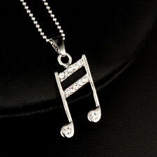 Fashion Musical Melody Note Pendant Necklace Chain For Women Silver Plated