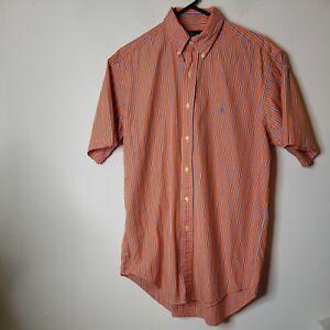 Ralph Lauren Men's Button Down Shirt Medium Orange Blue Striped Short Sleeve