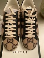 New! Gucci 'New Ace' GG Logo Low Top Sneaker Brown Mens  (US) 9.5 (UK) 8.5 $550