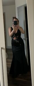 Ball Gown Prom Dress Size 8/10 Morgan and Co Long Floor Length Small Train black