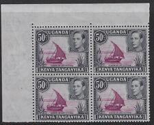 K.U.T.:1949 50c purple and black no dot perf 13 x 2 1/2  SG144ea  block M/MNH
