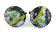 Vintage 1950s 60s Handmade Copper Enamel Abstract Modernist Design CUFFLINKS