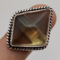 Smoky Quartz Solid Gemstone Silver Plated Handmade Ring VFJ026
