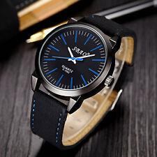 Men's Luxury Black Faced Sports Analog Quartz Black Leather Band Wrist Watch.