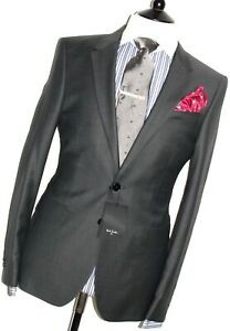 BNWT MENS PAUL SMITH THE PS NEW EDITION BIRTH-EYE  CHARCOAL GRAY SUIT 40R W34