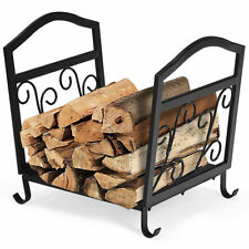 Fireplace Log Holder Wrought Iron Indoor Fire Wood Stove Stacking Rack Storage