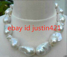 REAL HUGE AAA SOUTH SEA WHITE BAROQUE PEARL NECKLACE 18'' AAA+++
