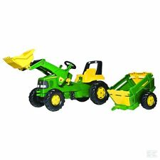 John Deere Childrens Pedal Tractor With Loader and Trailer Kids Ride on Farm Toy