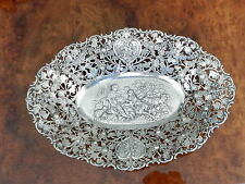 Antique 800 German Cherub'S & Rose'S Large 15.5 Inch Reticulated Bowl