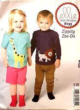 Ellie Mae Designs Pattern Zippity Zoo-Da Toddlers K133 Top Shorts Pants Uncut