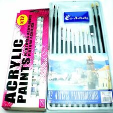 ARTISTS BRUSHES AND ACRYLICS PAINTS SET WORKS TUBES COLORS KIT CRAFTS PAINTER