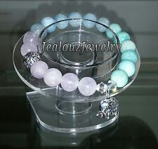 Sterling Silver Elephant Amethyst Aquamarine Amazonite Gemstone Stretch Bracelet