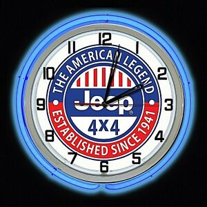 "19"" JEEP 4x4 The American Legend Established Since 1941 Sign Double Neon Clock"
