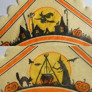Vtg 1930s 40s HALLOWEEN Crepe Paper Napkin Witch Black Cat Ghost JOL Dennison?