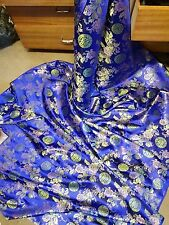 """1M royalblue  COLOUR  floral dragon Chinese Brocade Fabric Shiny Silky,  45""""wide"""