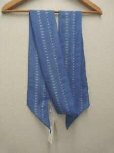 Eileen Fisher New Blue Bell Organic Cotton Silk Shibori Lines Skinny Scarf