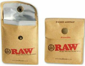 GENUINE RAW Smoking Pocket Ashtray - Portable Travel Foil Cigarette Pouch UK