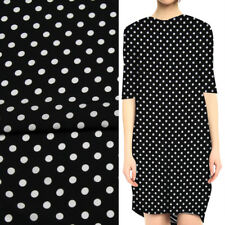 White polka dot print on black background rayon cotton fabric very soft,RCT008