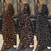 Women Leopard Print V Neck Long Maxi Dress Long Sleeve Cocktail Party Dress Plus