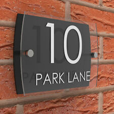 House Sign Number Plaques Clear & Black Acrylic Door Road Name
