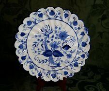 "Blue Onion style Hand Painted 9.75"" Decorative Plate Ceramic Blue & White"