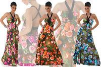 vestito donna abito lungo svasato floreale 3 colori tg unica