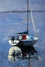 paysage marin bateau tableau peinture huile sur toile / painting on canvas boats