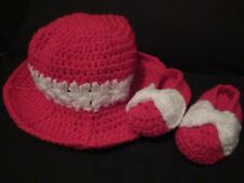 Baby Girl Set (Hat & Shoes) - Handmade Crochet (Red/White) (0-3 Months)