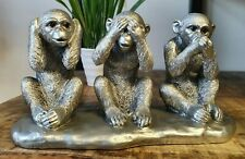 More details for 3 wise monkeys see hear speak no evil silver coloured art ornament
