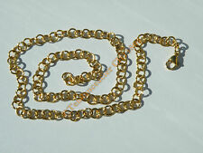 Chaine Collier 45 cm Maille Jaseron Rond Alterné Fantaisie Plaqué Or Acier 6 mm