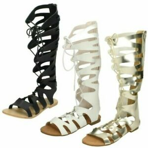 Ladies Spot On Lace Up Gladiator Sandals