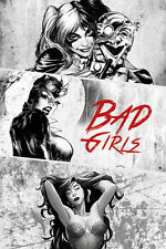 Poster BATMAN Bad Girls - Poison Ivy, Harley Quinn, Catwoman BW (Red) NEU 58466