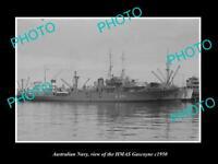 OLD POSTCARD SIZE PHOTO OF AUSTRALIAN NAVY SHIP HMAS GASCOYNE c1950