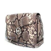 New Michael Kors Vanna Medium Shoulder Flap Handbag Embossed Natural Leather NWT