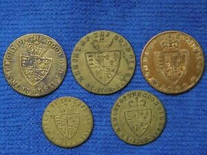 5 Brass/copper gaming tokens 1797 & 1768 all similar but small differences.