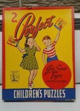 Vintage 2 Pefect Puzzles for Children Jig Saw WINTER SPORTS RACER