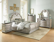 MAJESTIC 5pcs Traditional White Bedroom Set King Tufted Faux Leather Sleigh Bed