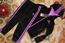 NWT ADIDAS Girls Track Suit Jacket Top & Pants VELOUR Warm Up Hoodie Size 6 NEW