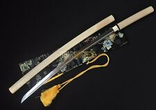 Hand forged T10 Steel Clay Tempered Shirasaya Japanese Samurai Katana Sword L210