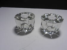 """New Martinsville Viking #315 Fluted Candleholders 2 Clear 2"""" T ca 1970's"""