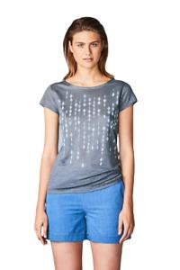 Päälä Damen T-Shirt grau Leinen Druck Muster Gr.S, M, L, XL