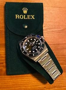 Dark Green Velvet Protective Service Case / Travel Pouch for Rolex Watch