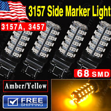 4x Car 3157 LED Amber 68 SMD LED Bulb - Front Rear Side Marker Light 3457A 3157A