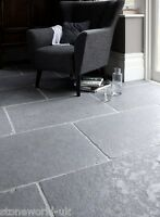 Tumbled Cathedral Ash Grey Limestone Floor Tiles Flagstones Grand Opus Pattern