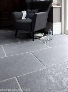 Sample of Tumbled Ash Grey Limestone Floor Tiles & Paving Slabs Aged Flagstones