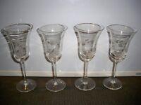 4 TOSCANY CRYSTAL  BUTTERFLY WINE GOBLETS 7 1/2''