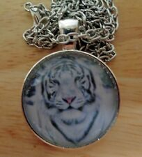 """Chain 1"""" Pendant 20"""" Necklace Handmade White Tiger Photo Glass Silver"""