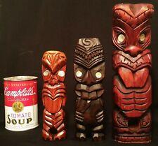 3 TIKI 's! maori new zealand vtg wood carved tribal art bar sculpture statue