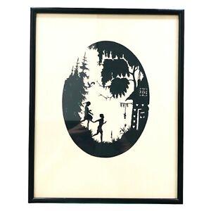 "Scherenschnitte Paper Cutting Hansel And Gretel Framed 13""x10.5"" Fairy Tale Art"