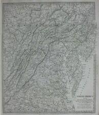 NORTH AMERICA VII, PENNSYLVANIA, MARYLAND, original antique map, SDUK 1844